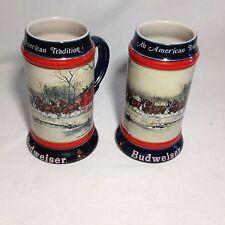 2 Vintage Budweiser Mug 1990 Anheuser Busch Holiday Beer Stein Clydesdales Horse