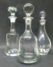 3  Karaffen @ Wein Likör Whisky @ klar @ schlichte Formen Flasche Glocke bauchig