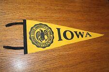Vintage University of Iowa Hawkeyes soft felt, full-size PENNANT w/ 4 streamers