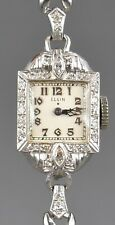 Fine Antique Art Deco Platinum & Diamond Elgin Ladies 19 Jewels Wristwatch Watch