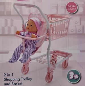 Kids 2 in 1 Shopping Trolley for my Dolly Cart Role Play Set Toy Activity Toy
