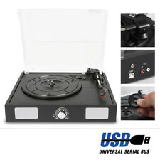 Vintage Black Wooden Vinyl LP Record Player Turntable USB Hifi Stereo System