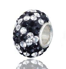 Materia Original 925 Silber Beads Strass Element - Bead Kugel schwarz weiß Charm