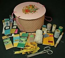 Vintage Princess Round Pink Sewing Basket 1950s + Notions