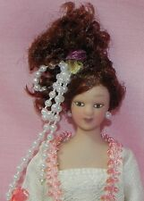 Dollhouse Miniature Doll Mother Victorian Porcelain Peach and Cream Dress 1:12
