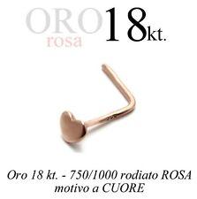 Piercing da naso nose ORO ROSA 18kt.con CUORE da 2mm. pink GOLD with HEART