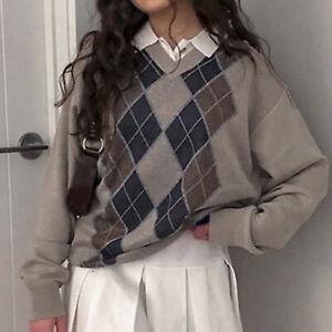 Women V Neck Long Sleeve Argyle Plaid-Jumper Autumn Winter Knit Sweater Pullover