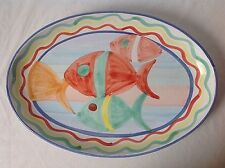 """Large Oval Fish Platter Hand Painted Art Pottery Beach Ocean Unmarked 17.5x12"""""""