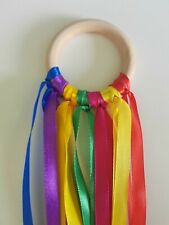 New Sensory Wooden Rainbow Ribbon Ring Baby toy (Baby shower gift  - Girl Boy)