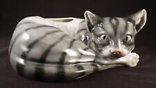 Beautiful Porcelain Resting Gray & White Stripped Cat Planter