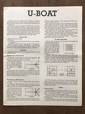 Board Game Parts, U-Boat, Instructions, Avalon Hill, 1964