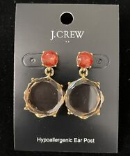 Sold Out! New$29.50! Red Apricot J.Crew Factory Crystal Circle Drop Earrings!