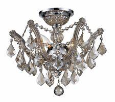 """3-Light 16"""" Chrome Finish Pan Golden Teak Crystal Flush Mount Ceiling Light"""
