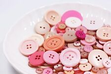 100 Pink Buttons Mixed Lots Resin Pastel Light Pink DIY Craft Packs Supplies