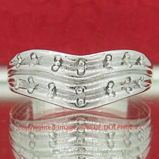 Genuine Diamond Solid Silver Engagement Wedding Dress Ring Band White Gold Finis