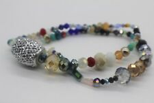 """Mix Electroplate Glass Beads Various Sizes & Shapes 15"""" Strand With Focal Bead"""