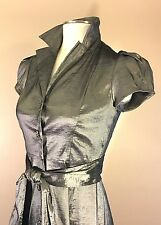 Liz Claiborne Petite 4P Dark Gray Silver Metallic Shiny Belted Party Dress RARE