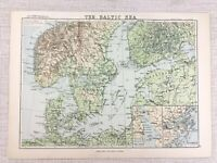 1894 Antique Map of The Baltic Sea Peninsula Stockholm Original 19th Century