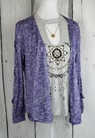 Self Esteem 2-Fer Lace Up Sleeves Cardigan Tee Top & Necklace Set Gray&Purple M