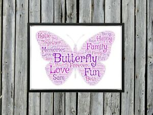 Personalised A4 Word Art Butterfly Family Memory Gift Photo Picture Print Image