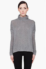 Theory Silver Silk Linen Loose Turtleneck Sweater  - Medium $345 NWT