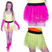 NEON TUTU  SKIRT  AGE 4-12 GIRLS PARTY  80'S FANCY DRESS