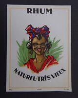Ancienne étiquette RHUM naturel très vieux negripub antille french label