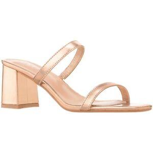 ILLUDE Women's Block Heel Double Band Square Toe Heeled Sandal Slip On Shoes
