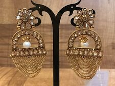 Indian Pakistani Ethnic Bollywood Gold Plated WhitePearl Moti Jhumki Bali Earing