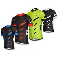 D2D Men's Short Sleeve Cycling Jersey V2: Black and Red, White, Blue or Fluoro