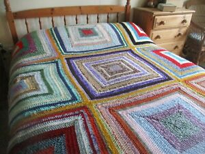 HUGE Granny Style Crocheted Pretty Blanket Throw Camper Festival Hand Made NEW!