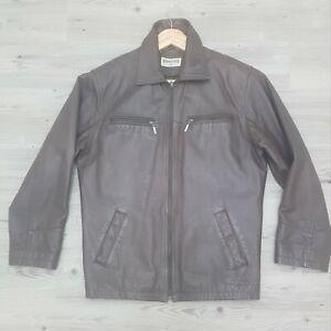 "John F Gee Brown Leather Pilot Bomber Jacket Mens Vintage Size M chest 44""."