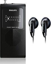 Philips Am Fm Battery Operated Portable Pocket Transistor Radio w headphones
