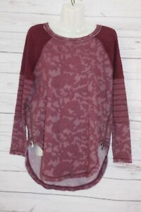 Free People Women's Purple Top Jersey Style Floral Side Zippers Casual Size XS