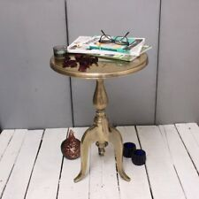 Bamba Round Aluminium Side Table Pedestal Brass Shabby Chic Vintage Medium Size