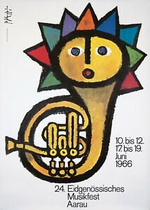 Original Vintage Poster Piatti Musikfest Sun Tuba 1966 Swiss