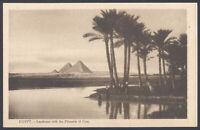 Cairo Postcard. Egypt. Landscape View of the Pyramids of Giza. Pyramid Complex