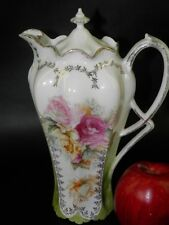ANTIQUE ROYAL VIENNA RS PRUSSIA CHOCOLATE POT YELLOW PINK ROSES