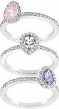 Set Anelli DONNA Swarovski Christie 5143555 mis 52 rings cristalli nuovo rosa