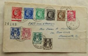 FRANCE 1944 STRASBOURG COVER TO UNITED STATES WITH 10 LIBERATION STAMPS