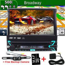 "Single 1DIN Flip-Out 7"" Car Stereo DVD CD Player GPS/USB/Bluetooth Radio Camera"
