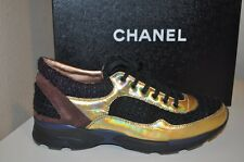 CHANEL 14K Runway Tweed Multi Color Holographic Lace Up Fashion Sneaker Shoe 35
