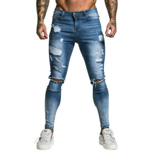 GINGTTO Blue Men Ripped Jean Skinny Stretch Destroyed Slim Fit Denim Trousers