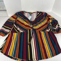Goddess Womens Casual Shirt Multicolor Stripe 1/2 Sleeve Scoop Neck Plus 2X New