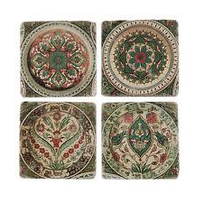 S/4 Leaf & Pétale vintage antique Céramique Boissons Table Tapis Carrelage Coasters Set