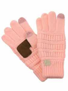 C.C. Kids' Children's Cable Knit Warm Anti-Slip Touchscreen Texting CC Gloves