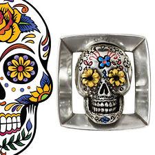 Gürtelschnalle Buckle Mexican Sugar Skull Totenkopf Wechselschnalle silber 4cm