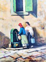 BONETTI ANTONIO Dipinto -Quadro - Napoli Antica donne fontana