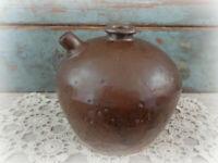 antique soy sauce jug jar circa late 1800s brown drip salt glaze pottery crock