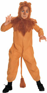 Cowardly Lion Child Costume Wizard of Oz Kids Brown Jumpsuit Halloween